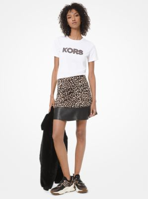 마이클 마이클 코어스 Michael Michael Kors Leopard-Print Ponte and Leather Flounce Skirt,DARK CAMEL