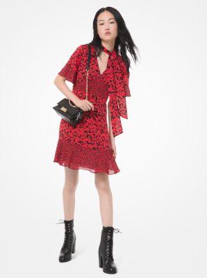 마이클 마이클 코어스 Michael Michael Kors Mixed Floral Leaf Jacquard Tie-Neck Dress,SCARLET/BLACK