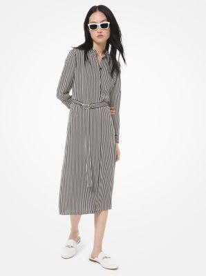 마이클 마이클 코어스 원피스 Michael Michael Kors Striped Crepe Shirtdress,BLACK/BONE
