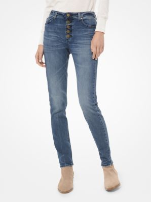 마이클 마이클 코어스 Michael Michael Kors Stretch-Denim Button-Front Skinny Jeans,VINTAGE WASH