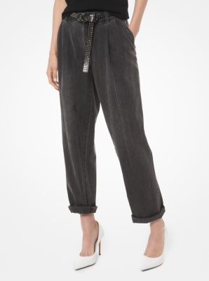 마이클 마이클 코어스 Michael Michael Kors Denim High-Rise Pleated Jeans,CHARCOAL