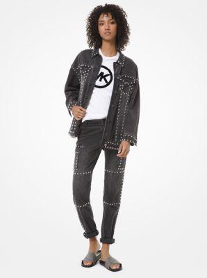 마이클 마이클 코어스 카고바지 Michael Michael Kors Studded Denim Cargo Jeans,CHARCOAL