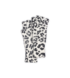 Leopard-Print Angora-Blend Fingerless Gloves