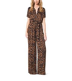 Leopard-Print Jersey Jumpsuit