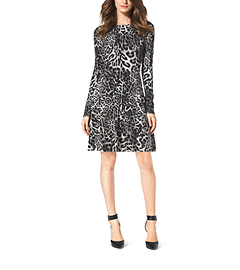Leopard-Print Cotton-Blend Sweater Dress