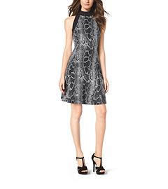 Studded Animal-Print Ponte Dress