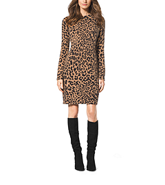 Cheetah-Print Angora-Blend Sweater Dress