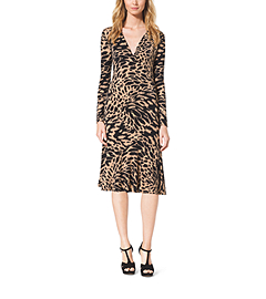 Ikat-Print Stretch-Jersey Wrap Dress