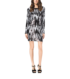 Digitized Ikat Sequined Dress