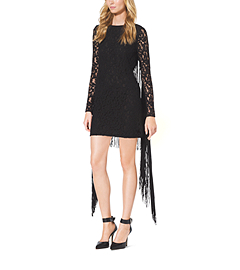 Lace-Sleeve Fringe-Trimmed Dress