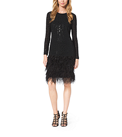Sequined Lace and Feather-Trimmed Dress