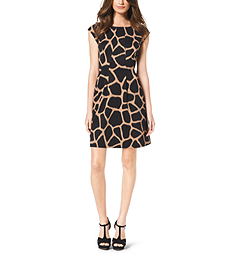 Giraffe-Print Ponte Flare Dress