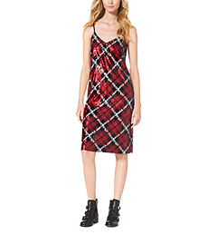 Sequined Plaid Slip Dress