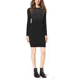 Studded Cotton Sweater Dress