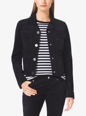 Button-Front Suede Jacket by Michael Kors