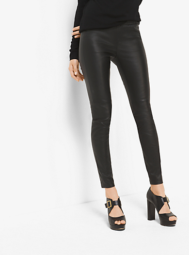 Stretch-Leather Leggings by Michael Kors