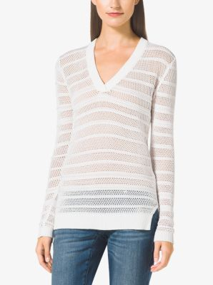 Mesh Cotton-Blend V-Neck Sweater by Michael Kors