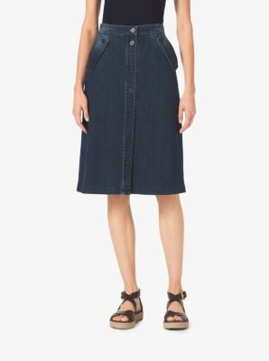 Denim Midi Skirt  by Michael Kors