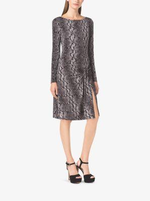 Snake-Print Long-Sleeve Dress  by Michael Kors
