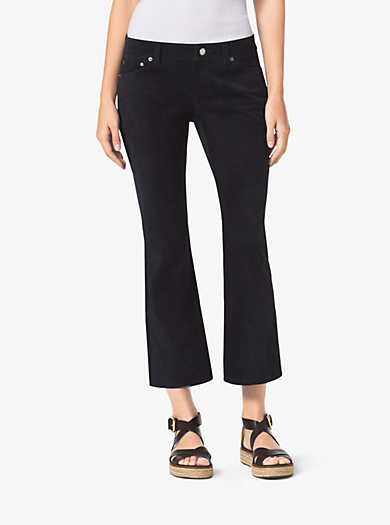 Cropped Flared Suede Pants by Michael Kors