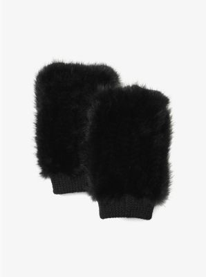 Cashmere and Fur Fingerless Gloves by Michael Kors