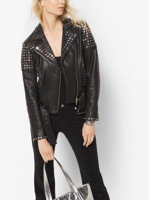 Studded Leather Moto Jacket by Michael Kors
