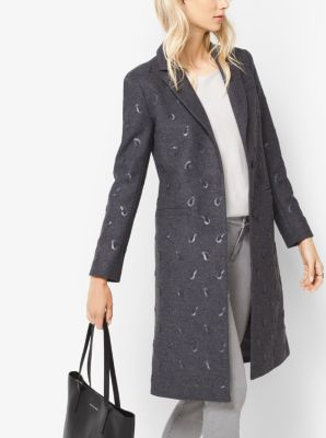 Paisley-Embroidered Wool-Melton Coat by Michael Kors