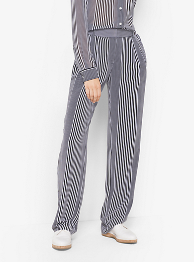 Pantaloni in georgette a righe by Michael Kors