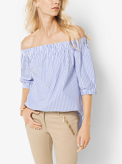 Striped Poplin Off-the-Shoulder Top by Michael Kors