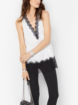 Lace-Trimmed Crepe Top by Michael Kors