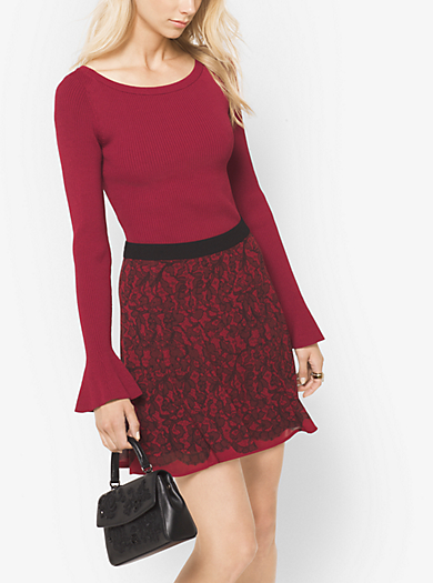 Ribbed Bell-Sleeve Sweater by Michael Kors