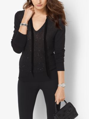 Sequined Tie-Neck Sweater by Michael Kors