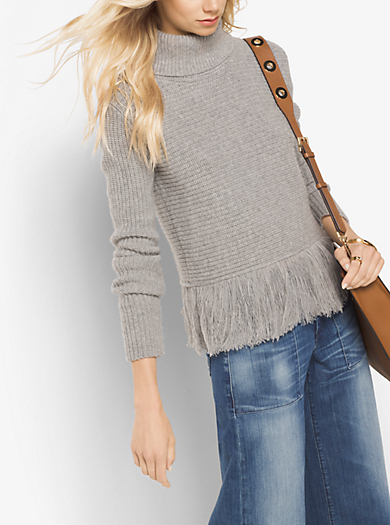 Fringed Merino Wool and Cashmere Turtleneck by Michael Kors