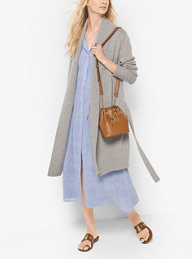 Merino Wool and Cashmere Ribbed Cardigan by Michael Kors