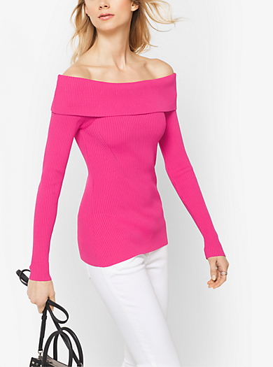 Ribbed Off-the-Shoulder Top by Michael Kors