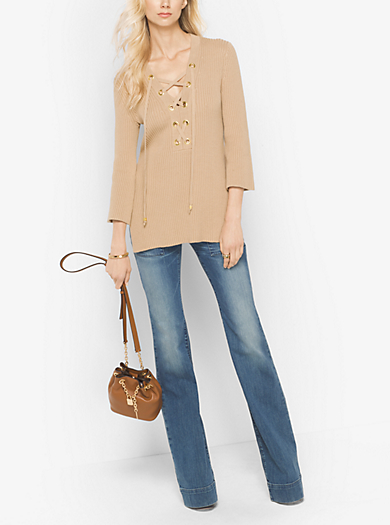 Lace-Up Ribbed Cotton Tunic by Michael Kors