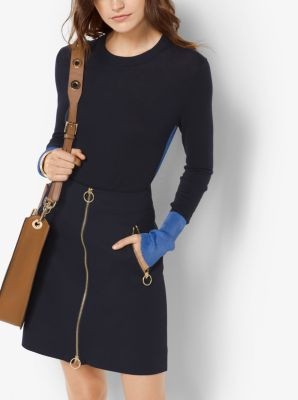 Two-Tone Cotton-Blend Sweater by Michael Kors