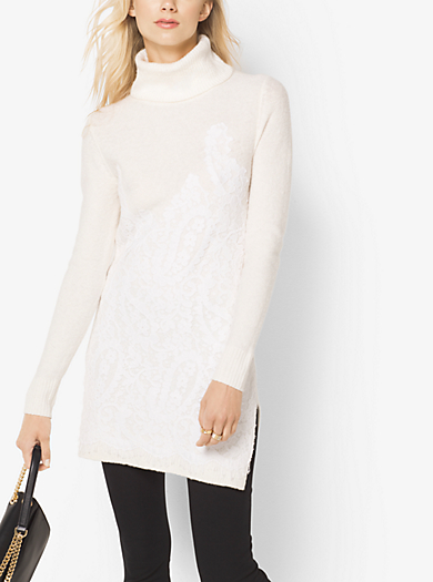 Lace-Embroidered Turtleneck Tunic by Michael Kors