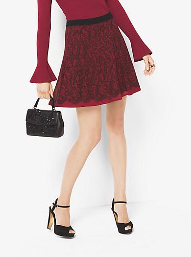 Lace-Print Chiffon Skirt by Michael Kors
