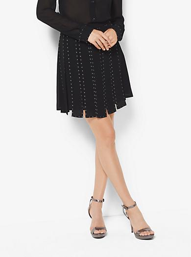 Studded Chiffon Slashed Skirt by Michael Kors