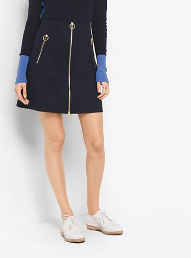 Zip-Front Double-Face Poplin Skirt by Michael Kors