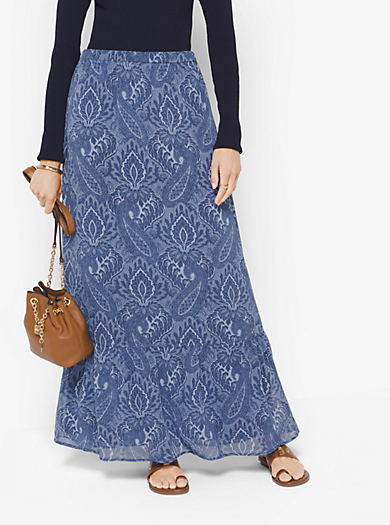 Printed Chiffon Maxi Skirt by Michael Kors