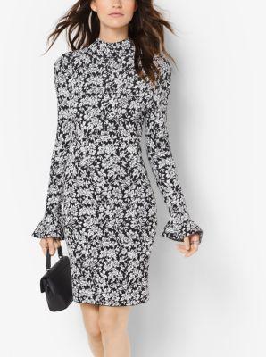 Floral-Print Bell-Sleeve Dress by Michael Kors