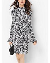 Floral-Print Bell-Sleeve Dress