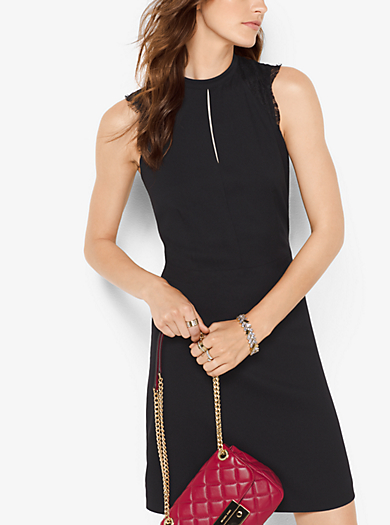 Lace-Trimmed Crepe Dress by Michael Kors
