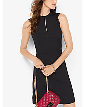 Lace-Trimmed Crepe Dress