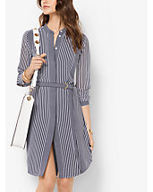 Striped Tie-Waist Georgette Dress
