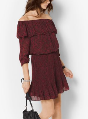 Lace-Print Chiffon Off-the-Shoulder Dress by Michael Kors