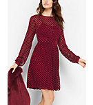 Polka Dot Devoré Velvet Dress