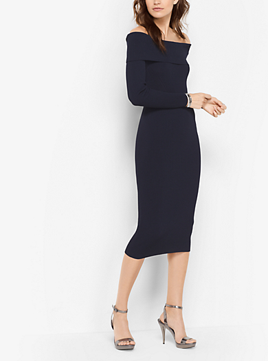 Knit Off-The-Shoulder Dress by Michael Kors